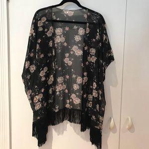 Tops - Black Floral Kimono